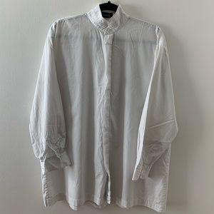 Eskandar Cotton Poplin Double stand collar shirt